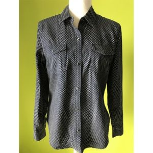 Gap 1969 Buttoned Polka Dots Black Shirt S